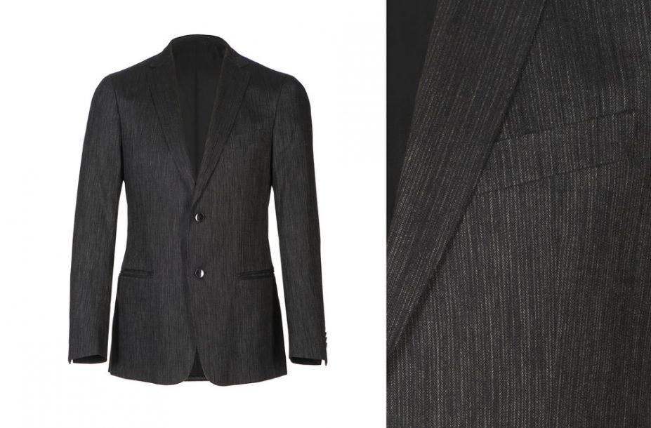 """Lumiprod, photographie d'une veste de costume masculin présentée sur """"mannequin invisible"""", """"ghost"""". Vue de face et de détail."""