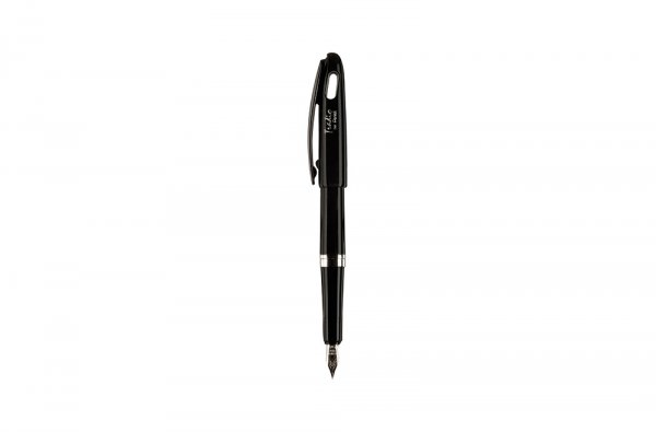 Packshot d'un stylo à plume en argent Pentel. Vue du stylo ouvert.
