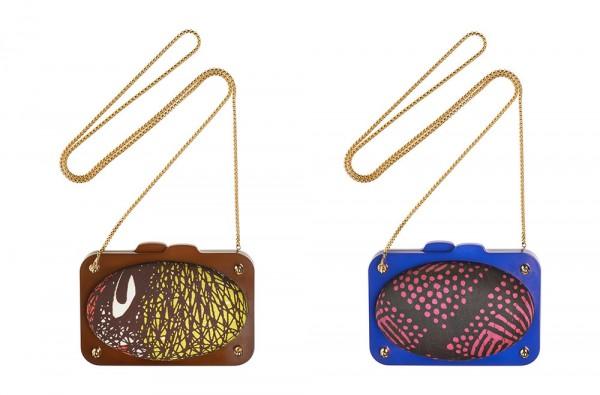 Lumiprod, packshot de deux sacs de soirée conçus par la créatrice d'accessoires de mode Carol Oyekunle.