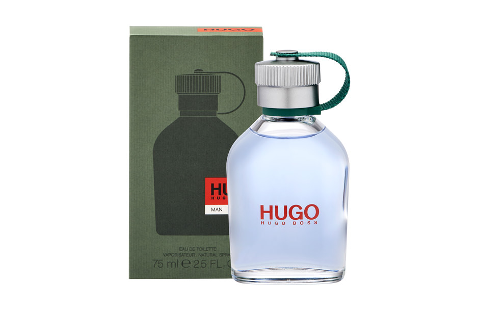 Photographie packshot en studio du parfum Hugo Man by Hugo Boss et de son étui