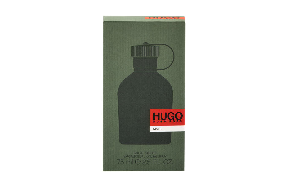 Photographie packshot en studio de l'étui de parfum Hugo Man.